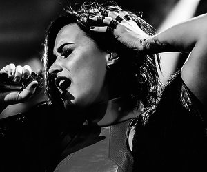 demi lovato and black and white image