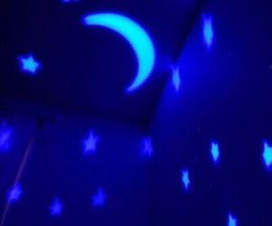blue, moon, and stars image