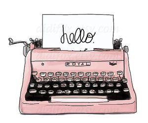pink, hello, and typewriter image