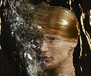 blonde, splash, and water image