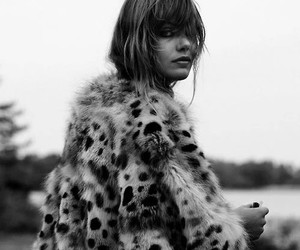 black and white, fur, and model image