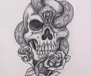 skull, snake, and rose image