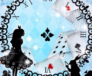 alice in wonderland, blue, and cards image