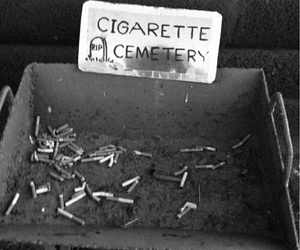 black and white, cigarette, and cemetery image