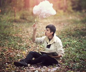 cloud, book, and boy image