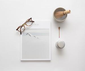 white, minimal, and glasses image
