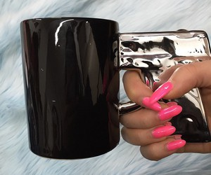 nails, pink, and cup image