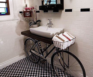 bathroom, fun, and bike sink image