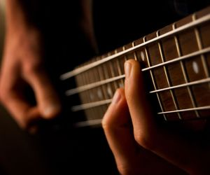 guitar, bass, and music image