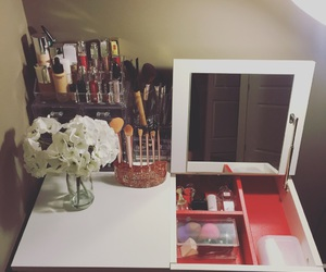 girls, make up, and vanity table image