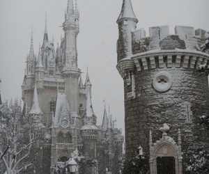 snow, castle, and disney image
