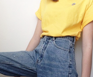 yellow, tumblr, and jeans image