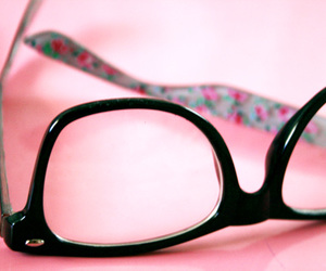 glasses, nerd, and pink image