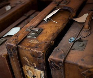 vintage, suitcase, and brown image