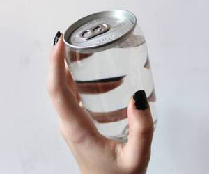 black nails, bottle, and drink image