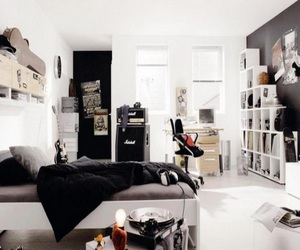bedroom, black, and hipster image
