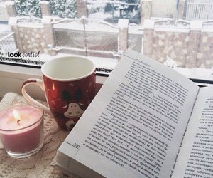 book, candle, and christmas image
