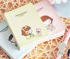book, notebook, and cute image