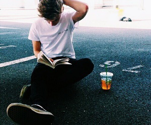 boy, book, and starbucks image