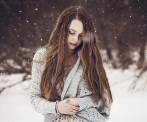 dress, hair, and snow image
