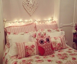 owl, pink, and room image