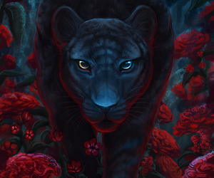 fantasy, art, and panther image