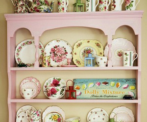 vintage, pink, and plate image
