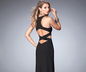 black prom dress, slit prom dress, and prom dresses 2016 image
