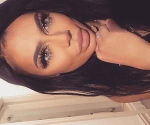 beauty, make up, and brunette image