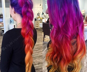 braids, colorful, and hair image