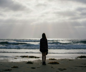 sea, girl, and alone image