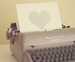 heart, typewriter, and vintage image