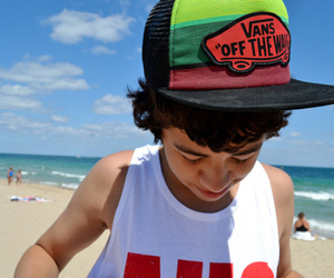 vans, boy, and beach image