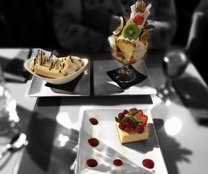 black and white, colors, and food image