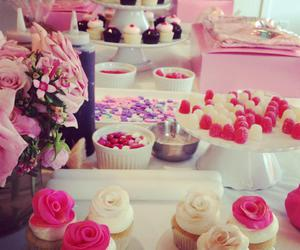 cupcakes, pink, and roses image