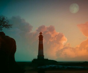 cliffs, lighthouse, and moon image