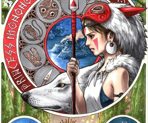princess mononoke, wolf, and mononoke image