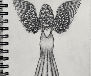 angel, pencil, and wings image