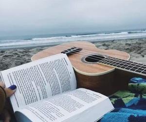 book, guitar, and beach image