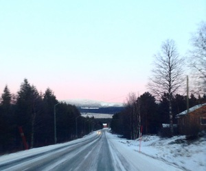 road, snow, and sunset image