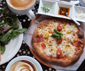 food, pizza, and coffee image