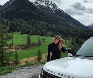 girl, beautiful, and range rover image