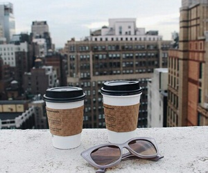 coffee, city, and sunglasses image