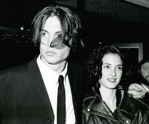 johnny depp, winona ryder, and black and white image