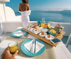 breakfast, sea, and couple image