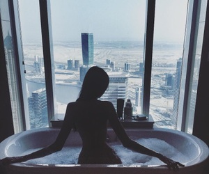 girl, bath, and city image