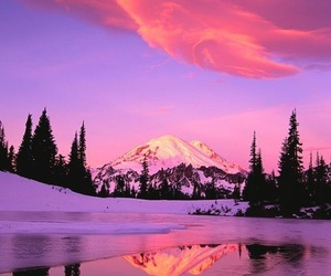 mountains, nature, and pink image