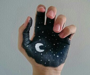 moon, hand, and art image