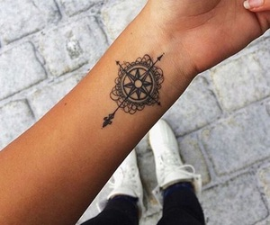 tattoo, arm, and compass image