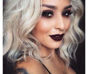 makeup, hair, and dark image